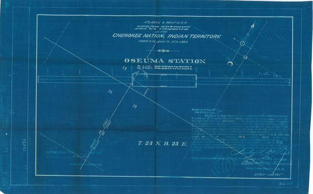 Atlantic and Pacific Railroad, Depot Reserve in Cherokee Nation, Indian Territory, Oseuma Station, 2nd Reservation, Not Approved[ 3 Copies]