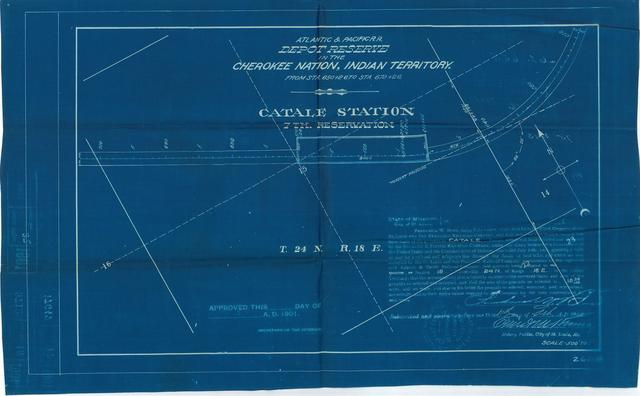 Atlantic and Pacific Railroad, Depot Reserve in Cherokee Nation, Indian Territory, Catale Station, 7th Reservation, Not Approved [2 copies]