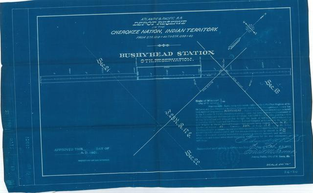 Atlantic and Pacific Railroad, Depot Reserve in Cherokee Nation, Indian Territory, Bushyhead Station, 9th Reservation, Not Approved[3 Copies]