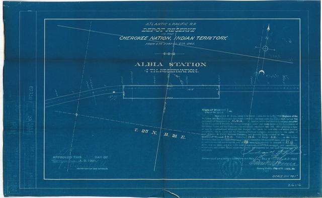 Atlantic and Pacific Railroad, Depot Reserve in Cherokee Nation, Indian Territory, Albia Station, 4th Reservation, Approved