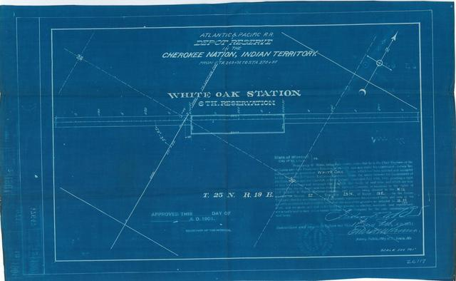 Atlantic and Pacific Railroad, Depot Reserve in Cherokee Nation, Indian Territory, White Oak Station, 6th Reservation, Not Approved[ 2 copies]