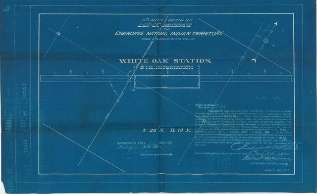 Atlantic and Pacific Railroad, Depot Reserve in Cherokee Nation, Indian Territory, White Oak Station, 6th Reservation, Approved