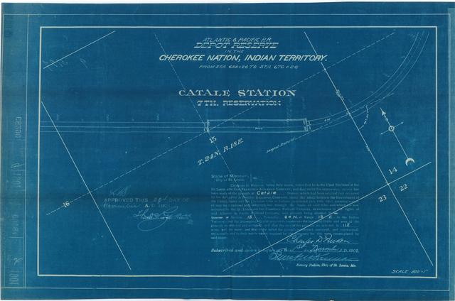 Atlantic and Pacific Railroad, Depot Reserve in Cherokee Nation, Indian Territory, Catale Station, 7th Reservation, Approved