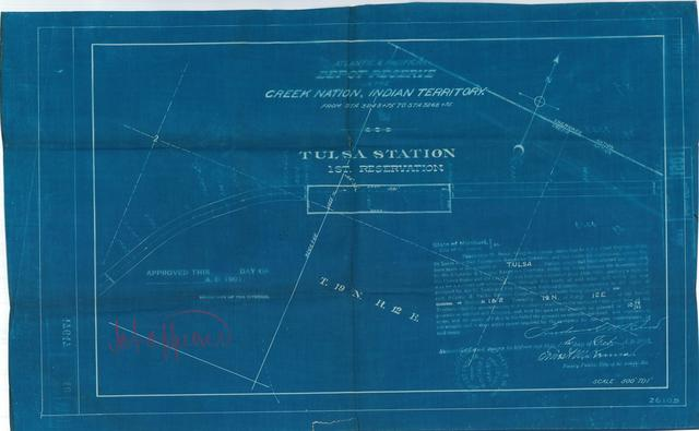 Atlantic and Pacific Railroad, Depot Reserve in Creek Nation, Indian Territory, Tulsa Station, 1st Reserve, Not approved[2 copies]