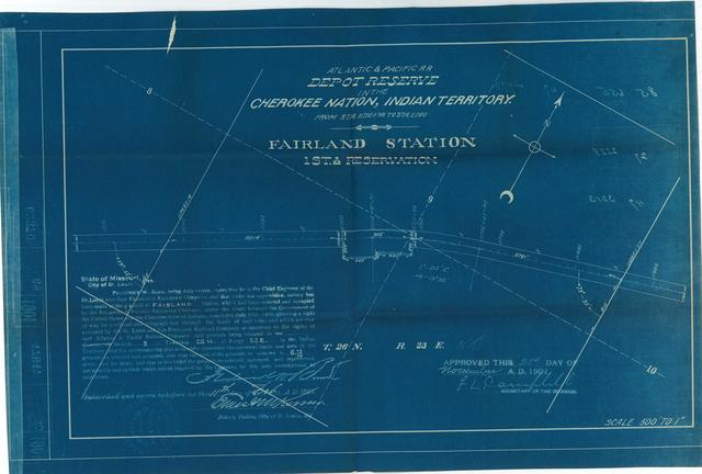 Atlantic and Pacific Railroad, Depot Reserve in the Cherokee Nation of Indian Territory, Fairland Station, 1stA Reservation, Approved[2 copies]