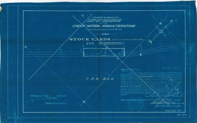 Atlantic and Pacific Railroad, Depot Reserve in the Cherokee Nation of Indian Territory, Stock Yards 1 1/2 miles west of Red Fork, 3rd Reservation, Not approved [2 copies]