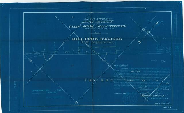 Atlantic and Pacific Railroad, Depot Reserve in the Cherokee Nation of Indian Territory, Red Fork Station, 2nd Reservation, Not approved