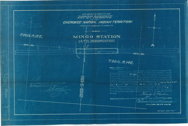 Atlantic and Pacific Railroad, Depot Reserve in the Cherokee Nation of Indian Territory, Mingo Station, 14th Reservation, Approved