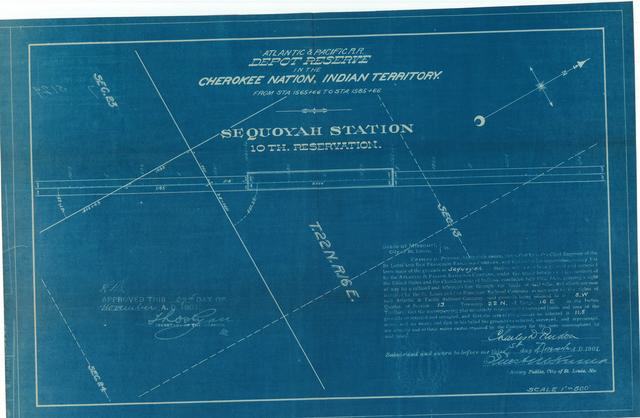Atlantic and Pacific Railroad, Depot Reserve in the Cherokee Nation of Indian Territory, Sequoyah Station, 10th reservation, Approved