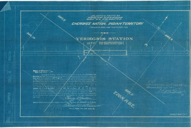 Atlantic and Pacific Railroad, Depot Reserve in the Cherokee Nation of Indian Territory, Verdigris Station, 12th Reservation, Approved