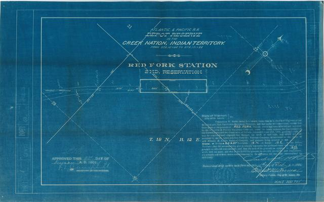 Atlantic and Pacific Railroad, Depot Reserve in the Cherokee Nation of Indian Territory, Red Fork Station, 2nd Reservation, Approved
