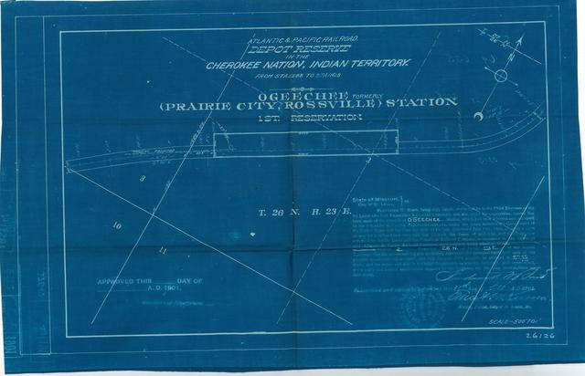 Atlantic and Pacific Railroad, Depot Reserve in the Cherokee Nation of Indian Territory, Ogeechee Fromerly Prairie City, Rossvile Station, 1st Reservation, Not Approved[2 copies]