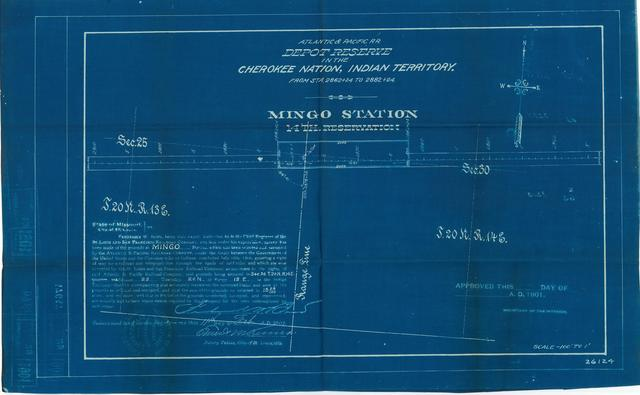 Atlantic and Pacific Railroad, Depot Reserve in the Cherokee Nation of Indian Territory, Mingo Station, 14th Reservation, Not Approved[2 copies]