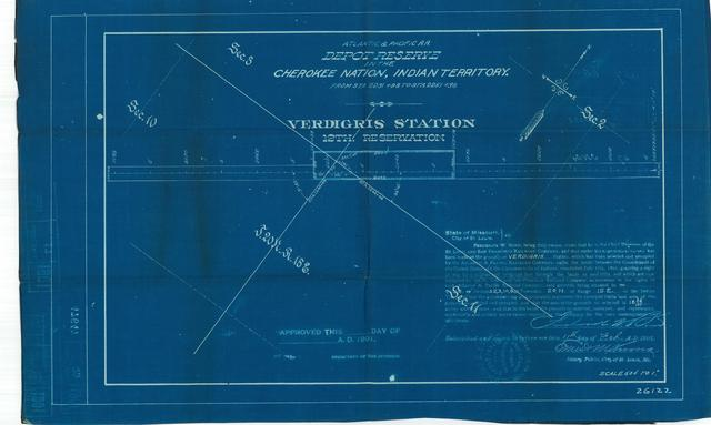 Atlantic and Pacific Railroad, Depot Reserve in the Cherokee Nation of Indian Territory, Verdigris Station, 12th Reservation, Not Approved [3 copies]