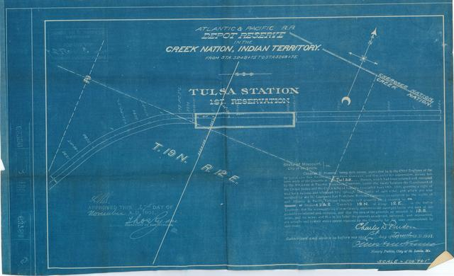 Atlantic and Pacific Railroad, Depot Reserve in the Creek Nation, Indian Territory, Tulsa Station, 1st Reserve, Approved[2 copies]