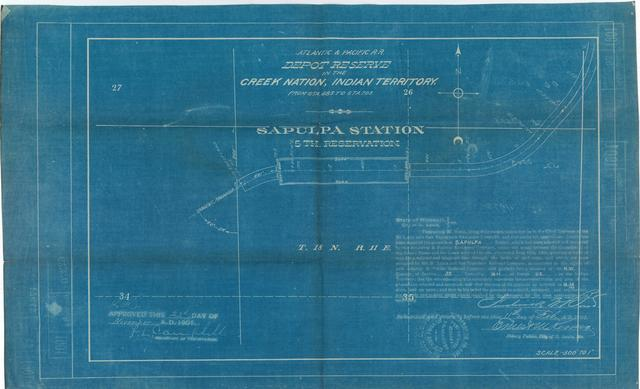Atlantic and Pacific Railroad, Depot Reserve in the Creek Nation, Indian Territory, Sapulpa Station, 5th Reservation, Approved[2 copies]
