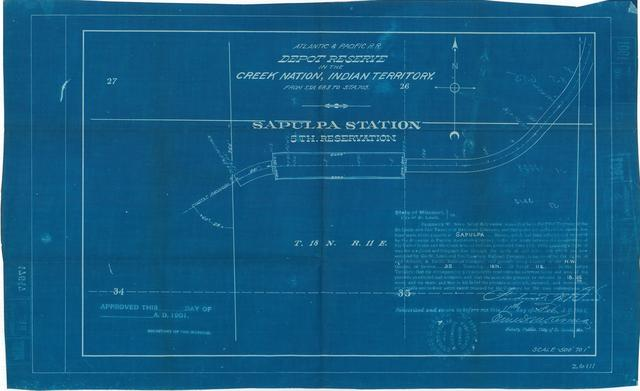 Atlantic and Pacific Railroad, Depot Reserve in the Creek Nation, Indian Territory, Sapulpa Station, 5th Reservation, Not Approved[2 copies]