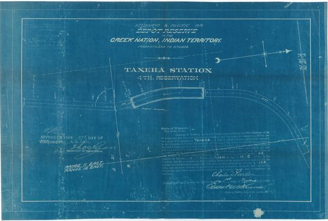 Atlantic and Pacific Railroad, Depot Reserve in the Creek Nation, Indian Territory, Taneha Station, 4th Reservation, Approved