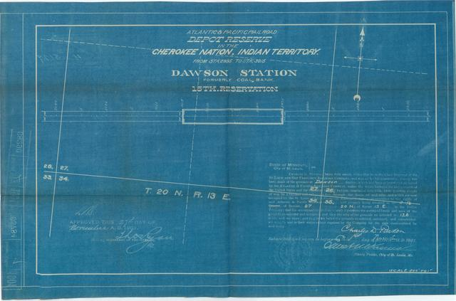 Atlantic and Pacific Railroad, Depot Reserve in the Creek Nation, Indian Territory, Dawson Station, Fromerly Coal Bank, 15th Reservation, Approved, [4 copies]