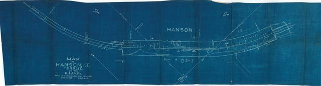 Map of Hanson, Indian Territory. T. 11N. R. 25E. On the K. and A. V. Railway