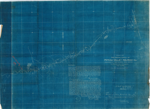 Map of Preliminary Survey of Poteau Valley Railroad Company, Scullyville Company, Choctaw Nation, Indian Territory, T. 7N., R. 24 and 25E. Indian Meridian