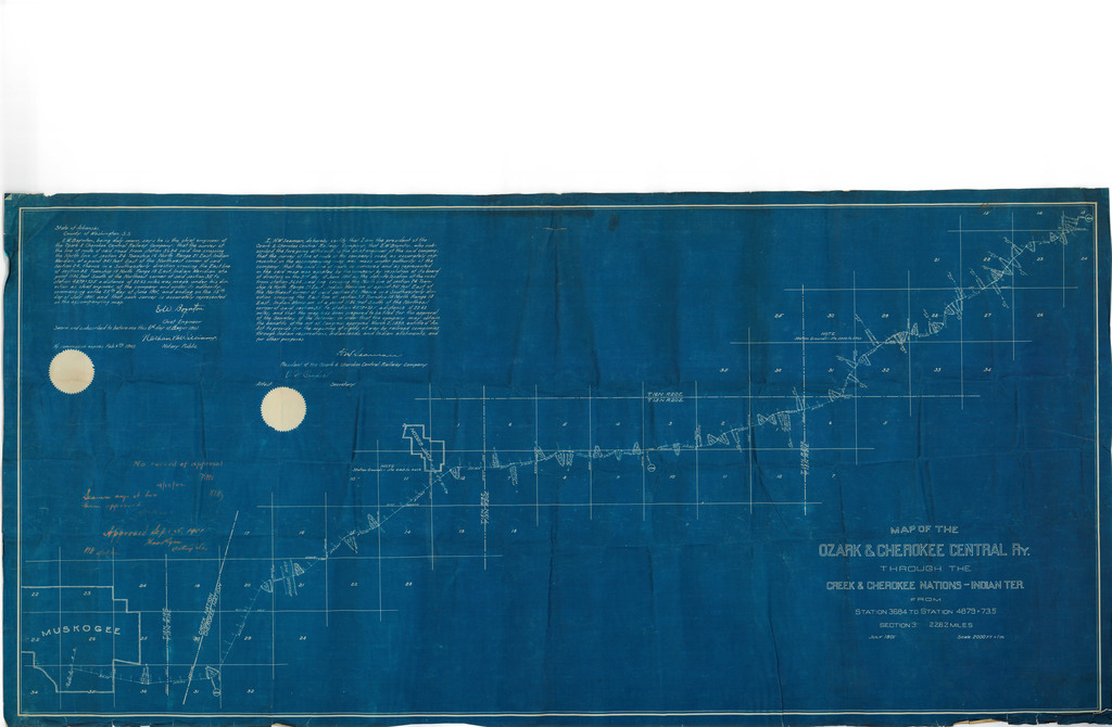 Map of the Ozark & Cherokee Central Ry. Through the Creek & Cherokee Nations Indian Ter.