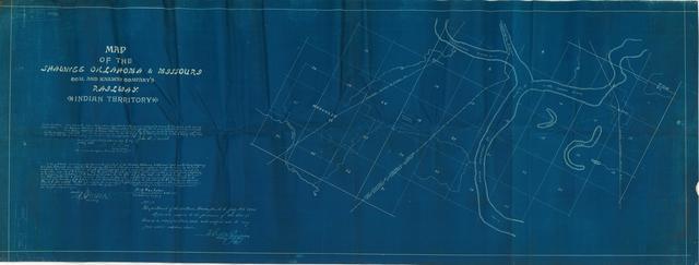 Map of the Shawnee, Oklahoma, and Missouri Coal and Railway Company's Railway, Indian Territory[2 copies]