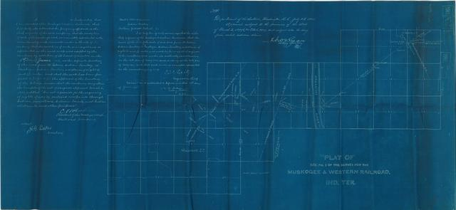 Plat of Section No. 1 of the Survey for the Muskogee and Western Railroad, Indian Territory.