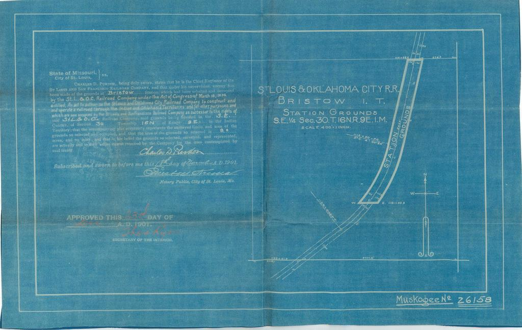 St. Louis and Oklahoma City Railroad, Bristow, Indian Territory, Station Grounds, S.E. 1/4 Sec. 30, Township 16 N, Range 9 E [4 copies]