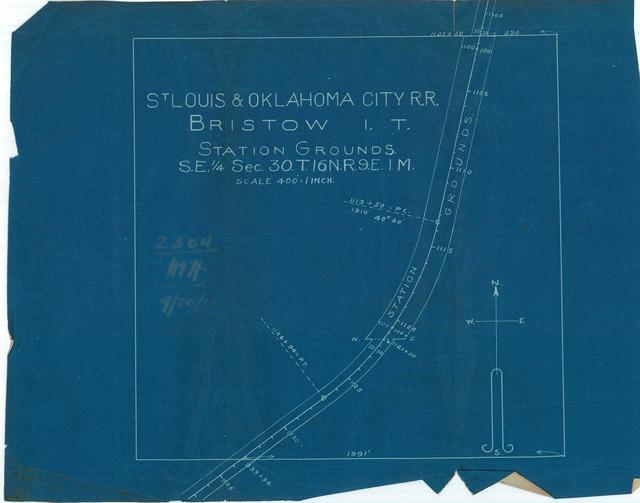 St. Louis and Oklahoma City Railroad, Bristow, Indian Territory, Station Grounds, S.E. 1/4 Section 30, T. 16N., R. 9E. I. M.