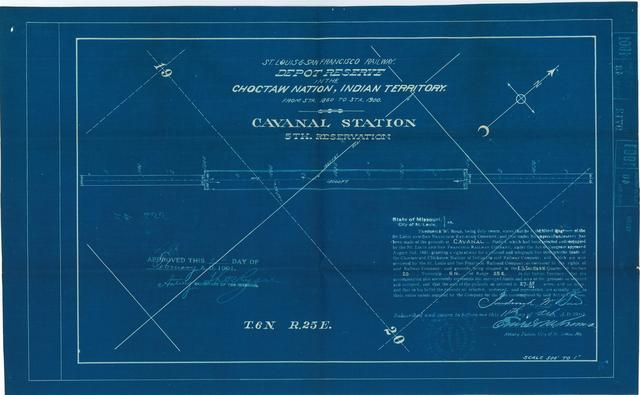 St Louis and San Francisco Railway, Depot Reserve in the Choctaw Nation, Indian Territory, Cavanal Station, 5th Reservation[2 copies]