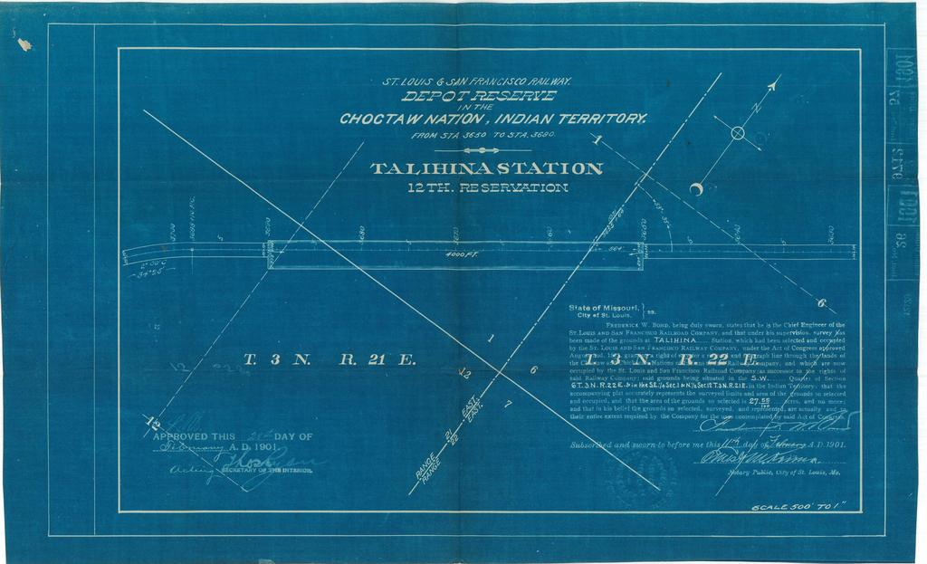 St Louis and San Francisco Railway, Depot Reserve in the Choctaw Nation, Indian Territory, Talihina Station,12th Reservation[2 copies]