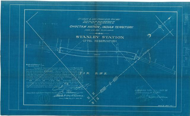 St Louis and San Francisco Railway, Depot Reserve in the Choctaw Nation, Indian Territory, Stanley Station, 17th Reservation[2 copies)