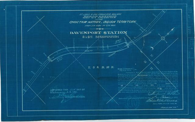 St Louis and San Francisco Railway, Depot Reserve in the Choctaw Nation, Indian Territory, Davenport Station, 21st Reservation[2 copies]