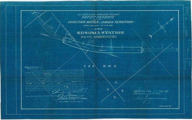 St Louis and San Francisco Railway, Depot Reserve in the Choctaw Nation, Indian Territory, Kosoma Station, 20th Reservation [2 copies]