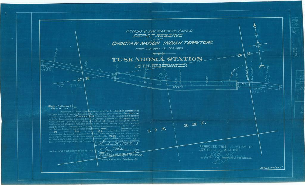 St Louis and San Francisco Railway, Depot Reserve in the Choctaw Nation, Indian Territory, Tuskahoma Station, 15th Reservation[2 copies]