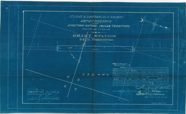 St Louis and San Francisco Railway, Depot Reserve in the Choctaw Nation, Indian Territory, Grant Station, 25th Reservation[2 copies]