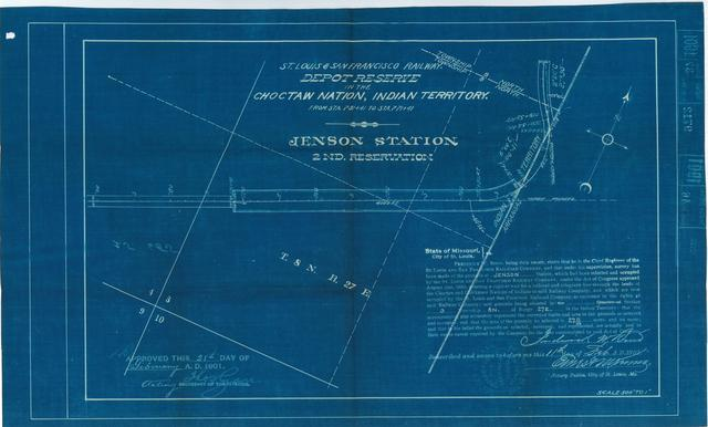 St Louis and San Francisco Railway, Depot Reserve in the Choctaw Nation, Indian Territory, Jenson Station , 2nd Reservation[2 copies]