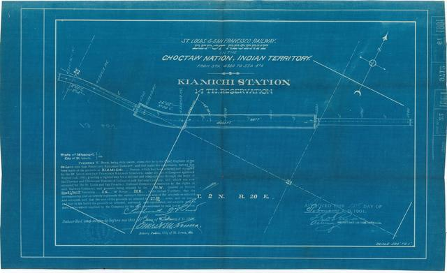 St Louis and San Francisco Railway, Depot Reserve in the Choctaw Nation, Indian Territory, Kiamicih Station, 14th Reservation[ 2 copies]