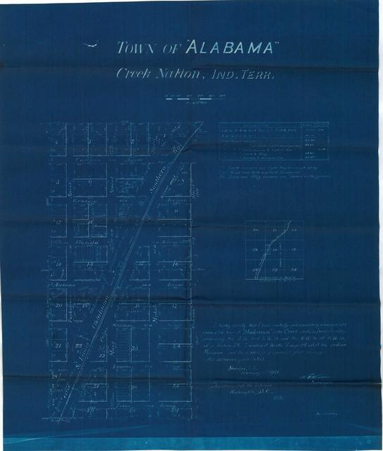Survey Map of the Town of Alabama, Creek Nation, Indian Territory(2 copies)