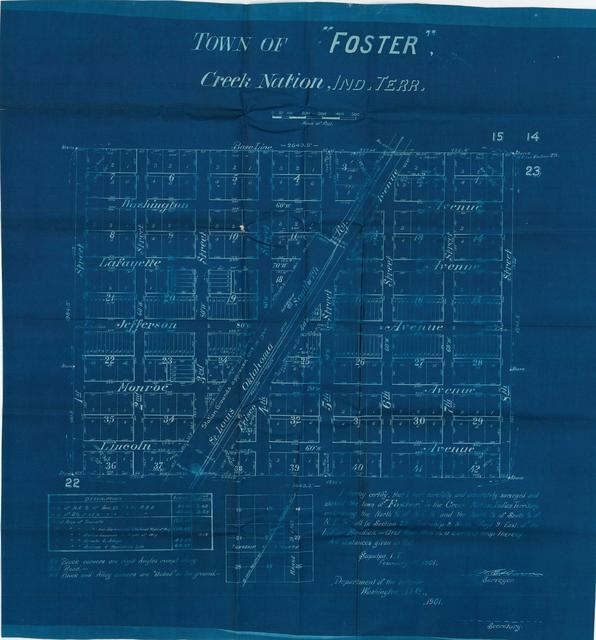 Survey Map of the Town of Foster, Creek Nation, Indian Territory( 2 copies)