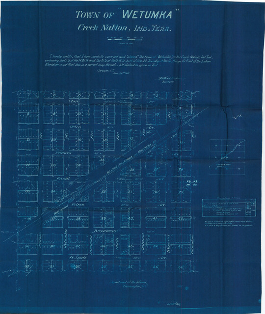Survey Map of the Town of Wetumka, Creek Nation, Indian Territory[2 copies]