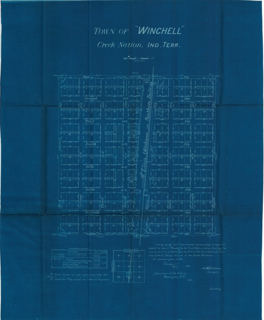 Survey Map of the Town of Winchell, Creek Nation , Indian Territory [3 copies]