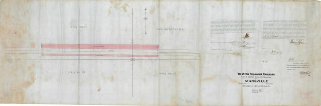Western Oklahoma Railroad, Map of Station Grounds Required at Mansville