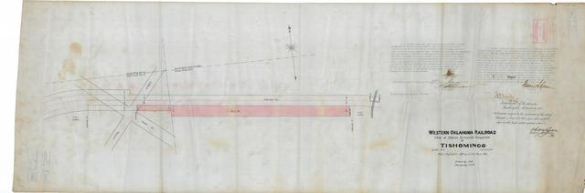 Western Oklahoma Railroad, Map of Station Grounds Required at Tishomingo