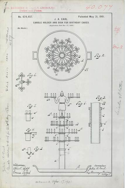 Patent Drawing for J. A. Earl's Candle Holder and Dish for Birthday Cakes