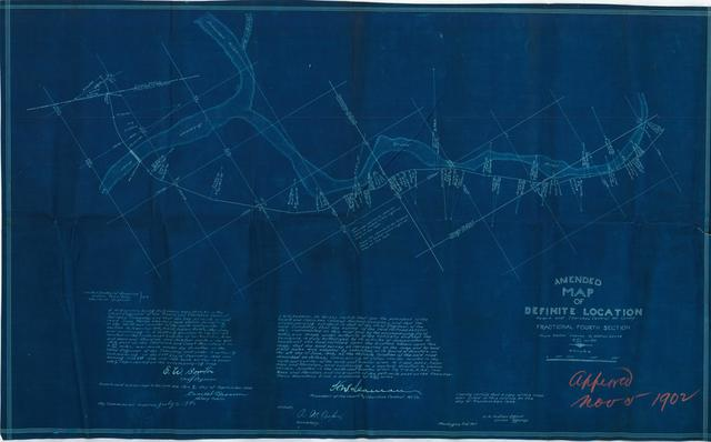 Amended Map of Definite Location, Ozark Cherokee Central Railway Company Fractional Fourth Section, From Station 1164+60 to Station 65+78[ 2 copies]