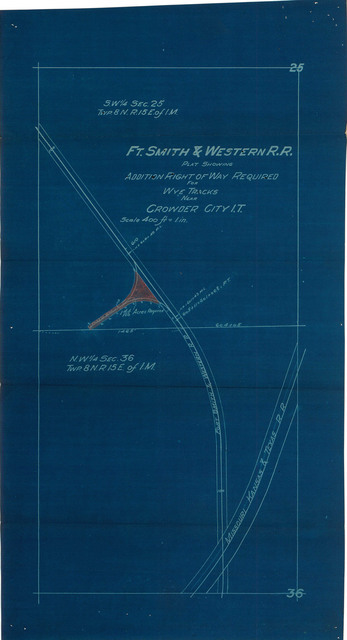 FT. Smith & Western R.R. Plat Showing Additional Right of Way Required for Wye Tracks near Crowder City I.T.