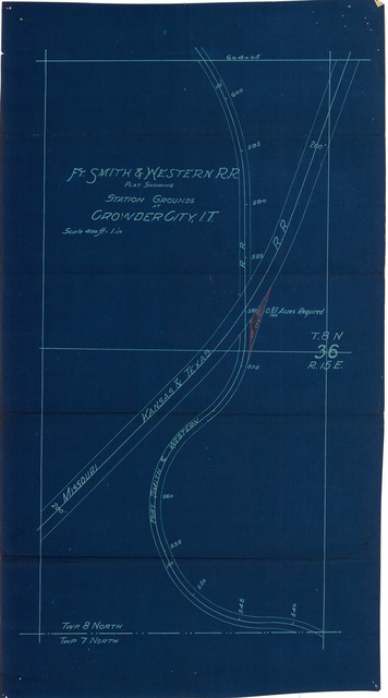FT. Smith & Western R.R. Plat Showing Station Grounds at Crowder City, I.T.