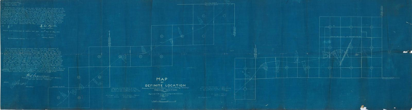Map of Definite Location, Shawnee, Oklahoma and Missouri Coal and Railway Company. Second Section
